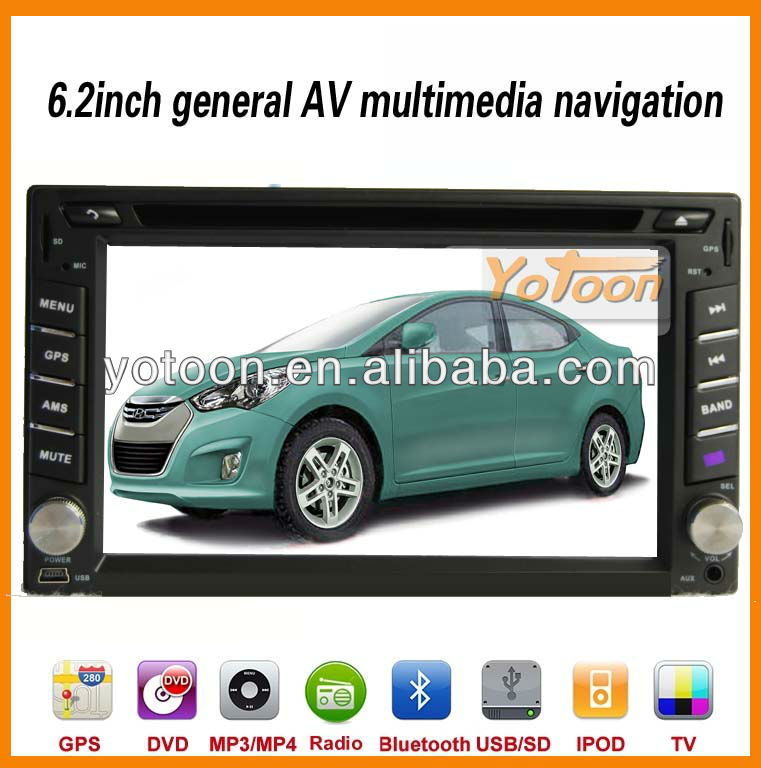 2 Din Car GPS / 6.2 inch Touch Screen 2 Din Car GPS / Ipod / DVB-T TV / Bluetooth / TF card / FM / AM /USB