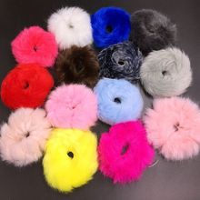 Girl Faux Rabbit Fur Ball Plush pom pom Furry Pony Tail Hair Rubber Extension Holder Band Accessories