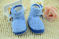 New Blue Winter Lovely Toddler Infant Boys Boots Shoes Dots Doll For Soft Sole Warm Kids Baby Footwear KS81205-13