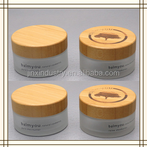 30g 50g 100g frost glass jar with bamboo cap