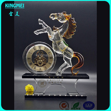Beautiful horse crystal table clock & Stained crystal clock with horse for gifts