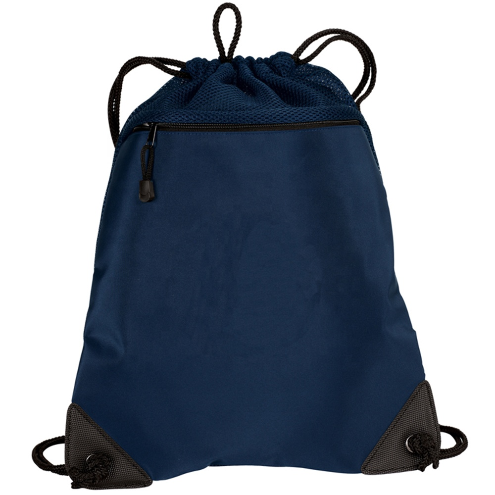 Dark blue drawstring backpack gym bag drawstring