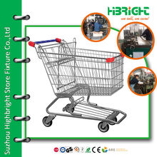 wire mesh zinc plated pull along supermarket trolleys