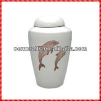 White plain hot-selling ceramic pet urns for ashes