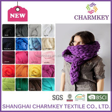 Hot sale in supermarkets thick merino wool giant yarn hand knitting scarf yarn