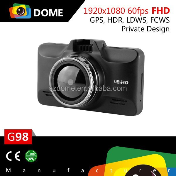 1080P 60fps Manual Car Camera hd dvr GPS built-in with Zinc Alloy Case,360 Full view Dashcam