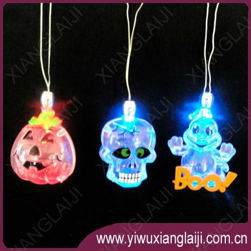 LED flashing halloween necklace pumpkin/skull/ghost