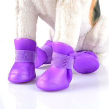 Silicone rubber puppy shoes dog rain boots waterproof pet dog boots for Rain Day