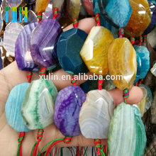 Agate Slices Wholesale Natural Gemstone Beads Irregular Shape Mix Color 40mm Large Agate Slice For Lucky Pendant