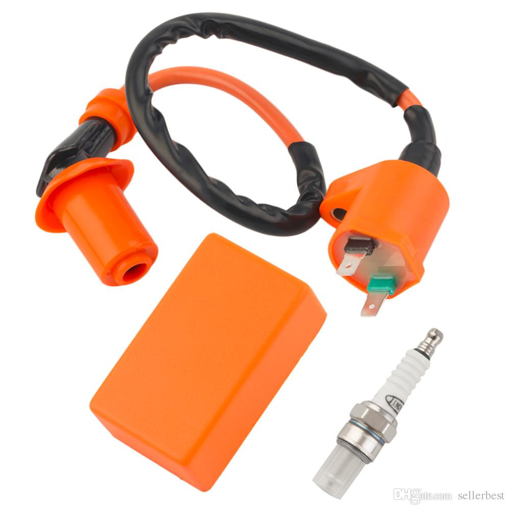Sale Motorcycle Performance CDI C.D.I + Ignition Coil + Spark Plug Fit Gy6 50cc 125cc 150cc