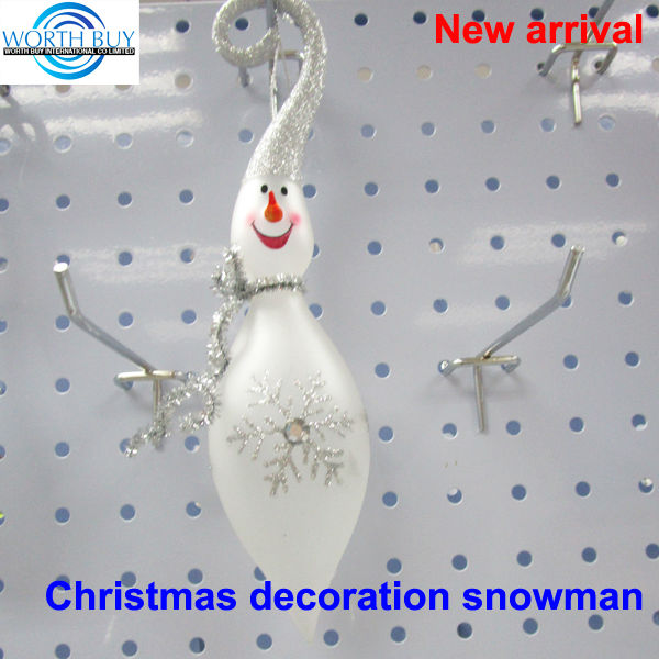 Clear class snowman Christmas tree ornament w/ silver glittered hat