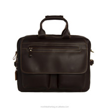 Executive Leather Laptop Document Briefcase for Men