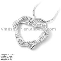 925 Silver Jewelry, Sterling Silver Heart Pendant with CZ Stone, without MOQ (DZ-782)
