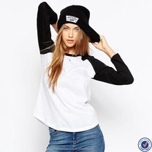 alibaba bulk wholesale t-shirts manufacturer oem cheap raglan contrast long sleeve casual wear womens top