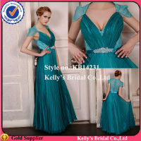 Competitive price with good quality Chiffon dress & pleated skirt front V neckline beaded belt silk chiffon dress patterns