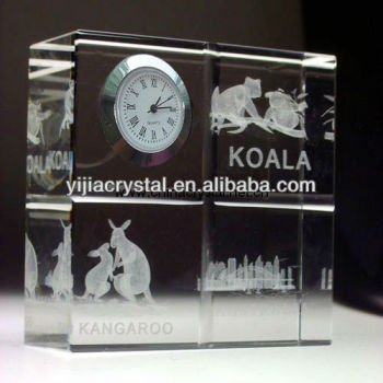 3D laser Engraved high quality cheap crystal clock