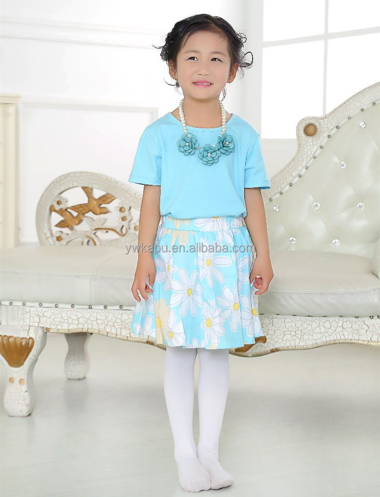 Wholesale Price Girls Pleated Skirts Sets, Manufactory Children's Beautiful Clothing, Popular Design Sets For Little Girls