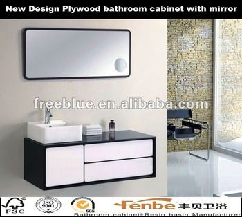 New Design Plywood bathroom cabinet with mirror