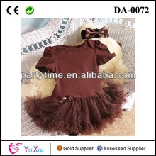 Popular Brown Tulle Lace Skirt Sexy Kid Dress