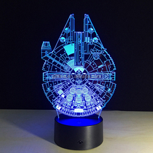 Novelty Millenium Falcon Lighting Table Lamp Touch Switch 3D LED Night Light