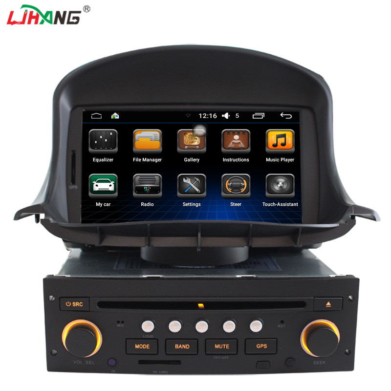 android 6.0 1g 16g auto audio system gps navigation for peugeot 206 double din radio navigation audio video system
