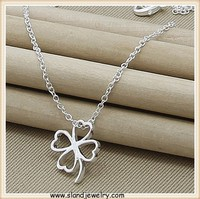 SLand jewelry online wholesale Tiny Sterling Silver Four Leaf Clover Necklace- Good Luck Necklace- Sterling Silver Chain