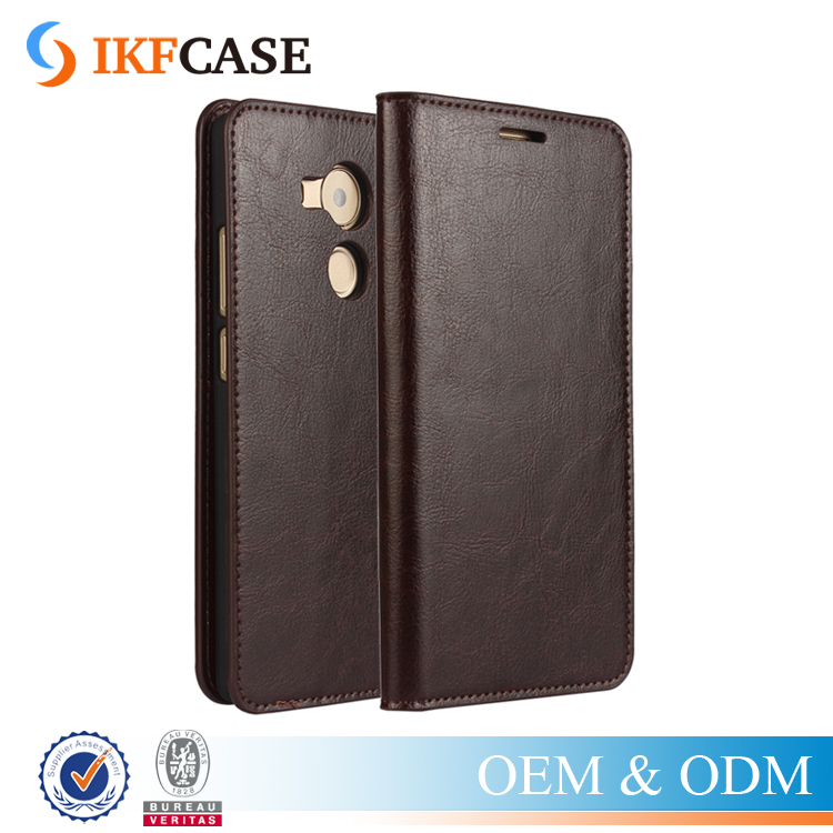 2016 New Design Fashion Filp Stand Wallet Oil Wax Genuine Leather Case for Huawei Mate 8