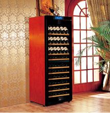 Factory Direct Offer Raching 100 Bottles Dual Temp Zone Cherry Osk Solid Wooden Wine Fridge Kitchen Cabinet
