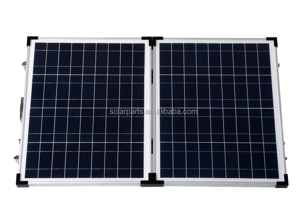18V 100W(50WX2) Foldable Polycrystalline Solar Panel with Stand