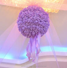High quality Customized artificial PE foam rose hanging flower ball 25cm for Wedding decoration