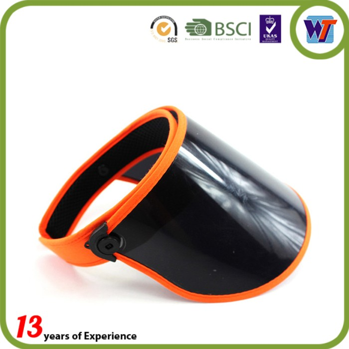 China wholesale websites elastic back adjustable PVC sun visors