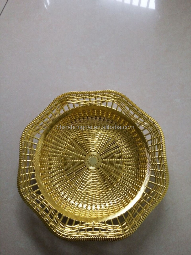 golden electroplating plastic fruit tray/plate