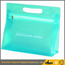 green color frosted pvc eva vinyl zipper bags with handle,pvc tote handle plastic bag,pvc zipper pouches