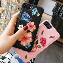 For iPhone 7 Plus Cover, Embroidery Flowers PU Leather Protective Back Cover Hard Case For iphone 7 plus