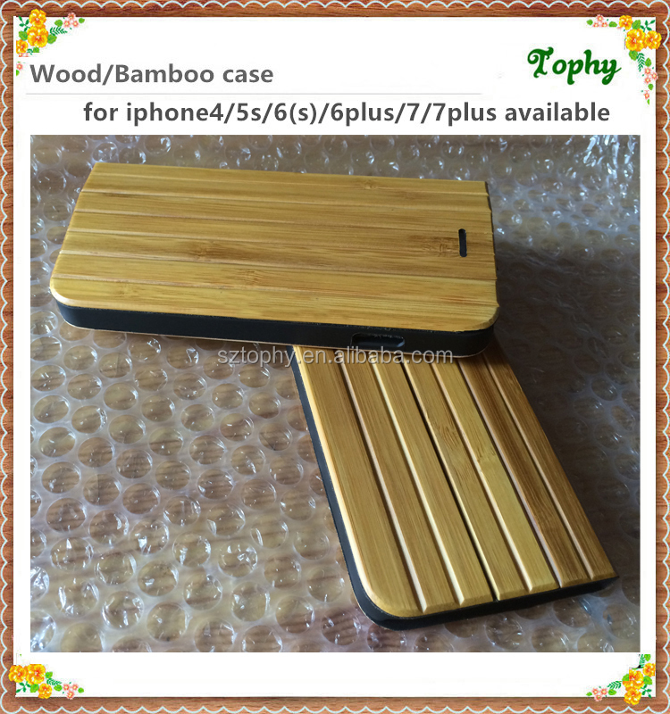 Fashion Bamboo Wood Back Protector Flip Hard Case/Cover for iphone 6s 6 plus