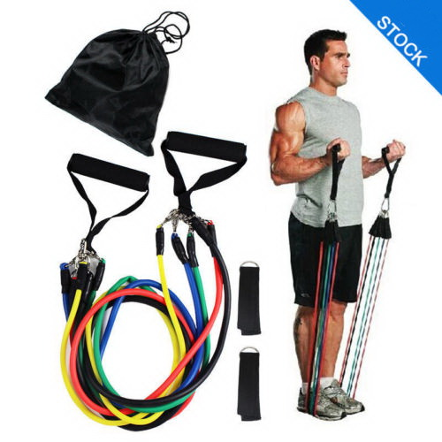 Amiga Fitness 11pcs /set Natural Latex Resistance Band Set