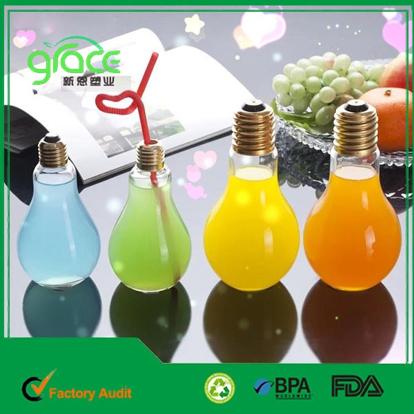 hot selling Various size juice,coffee,tae,milk tea, beer, beverage cheap PET plastic LED light bulb shape bottle