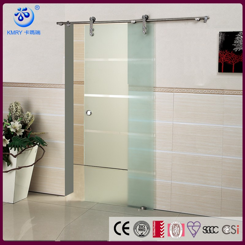 Stainless Steel Hang Sliding Hardware Interior Frosted Bathroom Entry Glass Barn Door