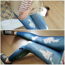 Retro Women Vintage Jeans Distressed Legging Girl Skinny Leggings Blue