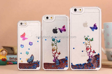 Liquid Moving World Colorful Show Butterfly Quicksand Bling Star phone back cover for iphone 6/iphone6 plus