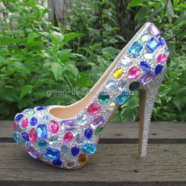 2015 newest design crystal 13cm high heel wedding shoes