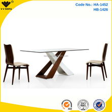 Kangbao Furniture hot selling wooden dining table with glass top designs