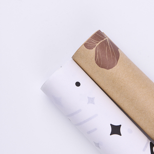 Wholesale factory custom yellow and white gift wrapping brown kraft paper roll