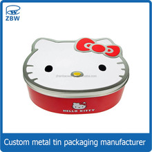 Cat shaped cute candy tin custom logo embossed wedding candy tin can for cosmetic packaging