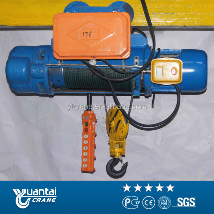 Cd1/md1 1 Ton-10 Ton Wire Rope Electric Hoist 220v 380v 440v With Trolley