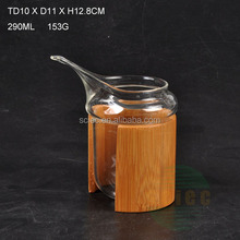 SCIEC high quality heat-resistance glass cup with bamboo cover