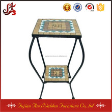 Outdoor 2-Tier Mosaic Flower Pot Stand Table