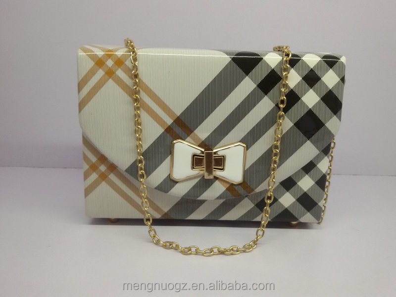 women PU leather clutch abg with wood box inside,ladies hardcase evening clutch purse PEBG031