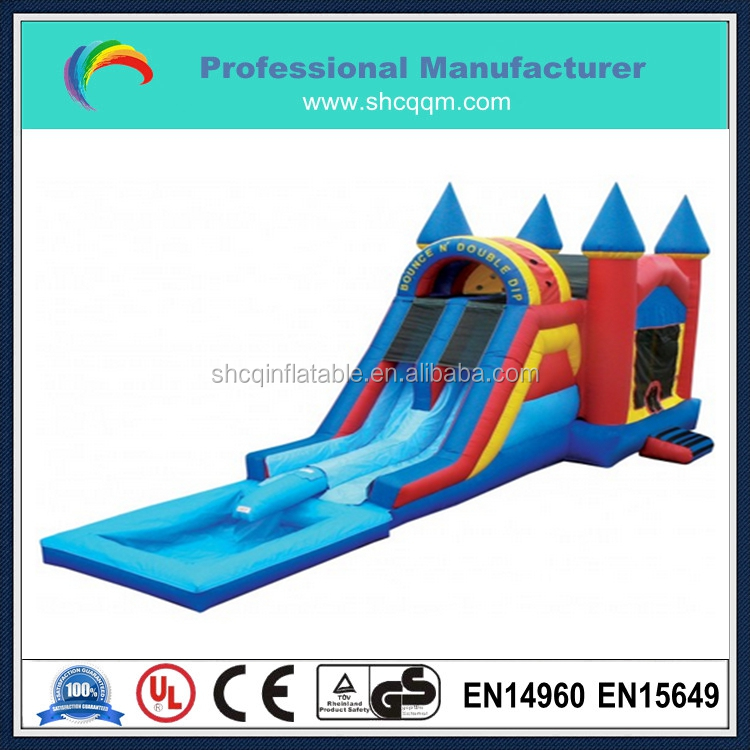 inflatable bouncy castle with water slide,inflatable bouncer with slide for kids