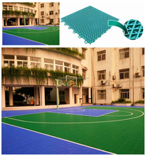 Modular interlocking sports floor for outdoor basketball court